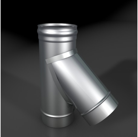 Тройник DTRT-Р 45* 304, 0,5/304, 0,5 d 150/250 с хомутом на замке, произв. ТИС - фотография 1
