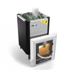 Банная печь Ермак Элит 20ПС (панорамное стекло), под теплообменник